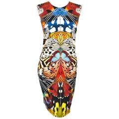 Roberto Cavalli Multi Color Butterfly Print Sleeveless Dress