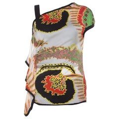 Roberto Cavalli Multicolor Abstract Printed Asymmetrical Shoulder Detail Top S