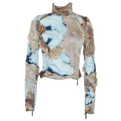 Roberto Cavalli Multicolor Acid Wash Denim Distressed Patch Detail Jacket S