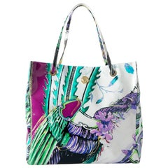 Roberto Cavalli Multicolor Crazy Print Patent Leather Shopper Tote