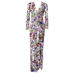 Roberto Cavalli Multicolor Floral Print Crepe Gathered Maxi Dress S