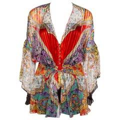 Roberto Cavalli Multicolor Floral Print Silk Smocked Sheer Blouse L