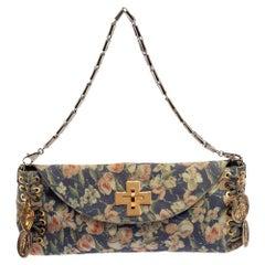 Roberto Cavalli Multicolor Floral Print Suede Turnlock Flap Shoulder Bag