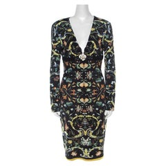 Roberto Cavalli Multicolor Floral Printed Jersey Leather Trim Detail Midi Dress