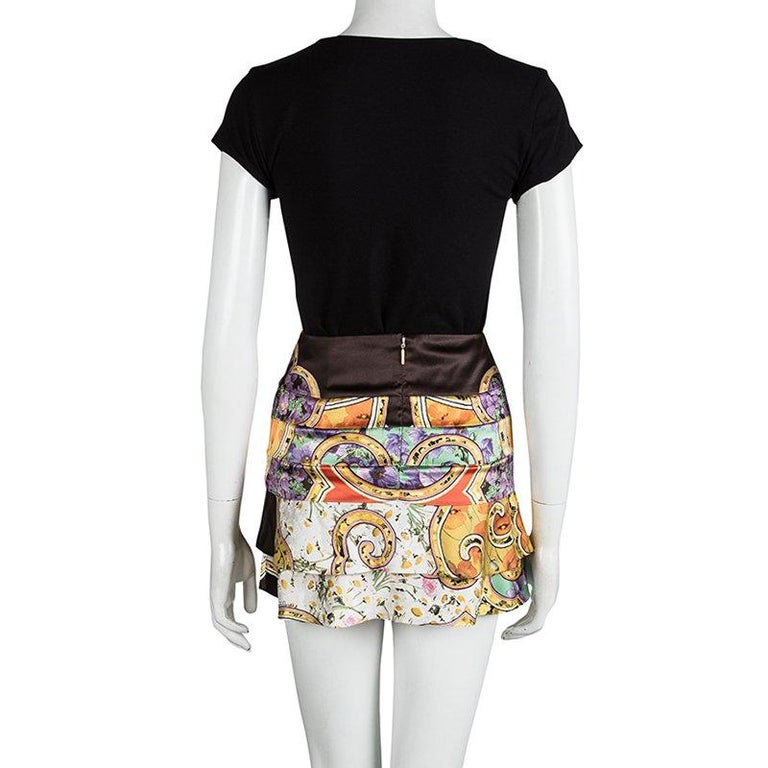 Beige Roberto Cavalli Multicolor Floral Printed Silk Tiered Mini Skirt S