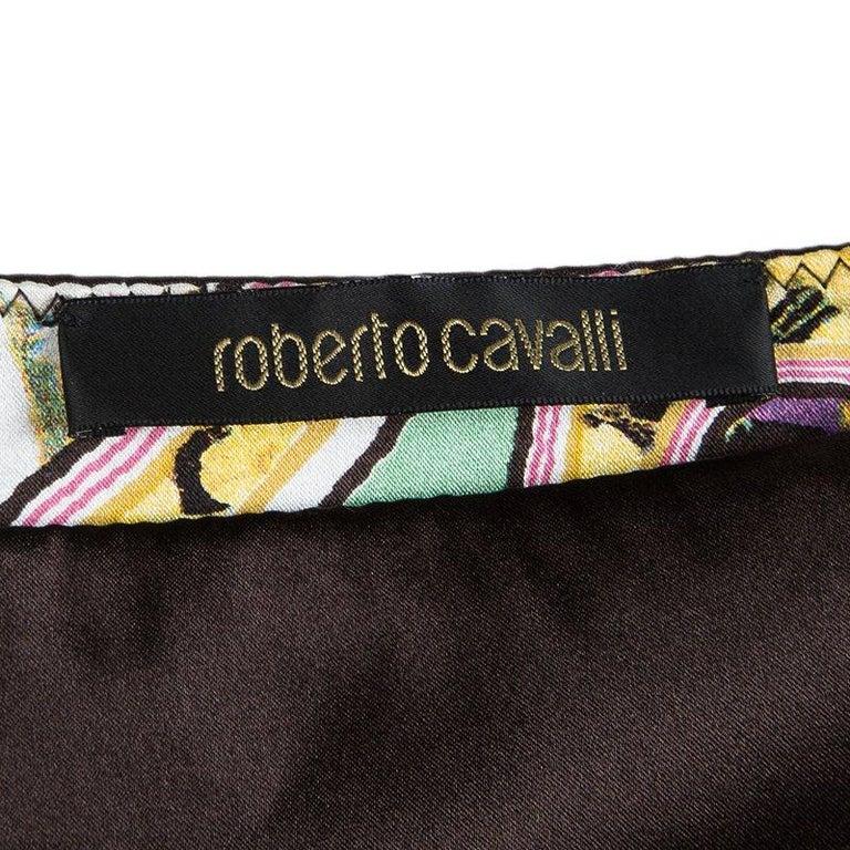 Women's or Men's Roberto Cavalli Multicolor Floral Printed Silk Tiered Mini Skirt S