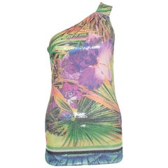 Roberto Cavalli Multicolor Floral Sequined One Shoulder Top S