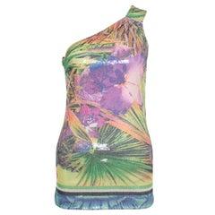 Roberto Cavalli Multicolor Floral Sequined One Shoulder Top S