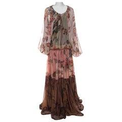 Roberto Cavalli Multicolor Flower and Fruit Print Silk Tiered Maxi Dress M