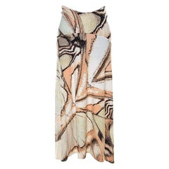 Roberto Cavalli Multicolor Foil Print Stretch Knit Maxi Skirt XS