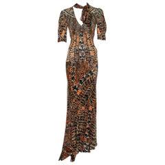 Roberto Cavalli Multicolor Print Silk Top And Skirt Set M