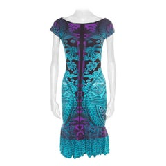 Roberto Cavalli Multicolor Printed Boat Neck Flounce Dress S