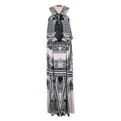 Roberto Cavalli Multicolor Printed Cutwork Neckline Detail Sleeveless Maxi Dress