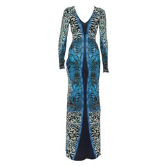 Roberto Cavalli Multicolor Printed Jersey V-Neck Long Dress S