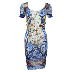 Roberto Cavalli Multicolor Printed Knit Short Sleeve Dress M