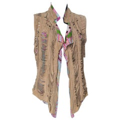 Roberto Cavalli Multicolor Printed Silk and Beige Suede Overlay Sleeveless Vest