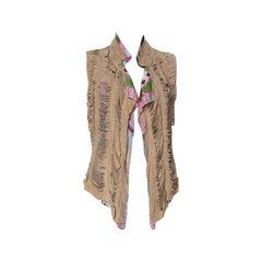 Roberto Cavalli Multicolor Printed Silk and Beige Suede Sleeveless Vest M