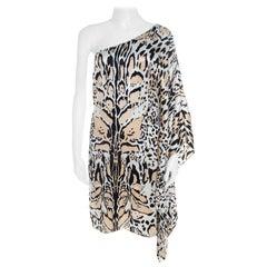 Roberto Cavalli Multicolor Silk Animal Print One Shoulder Asymmetrical Dress L