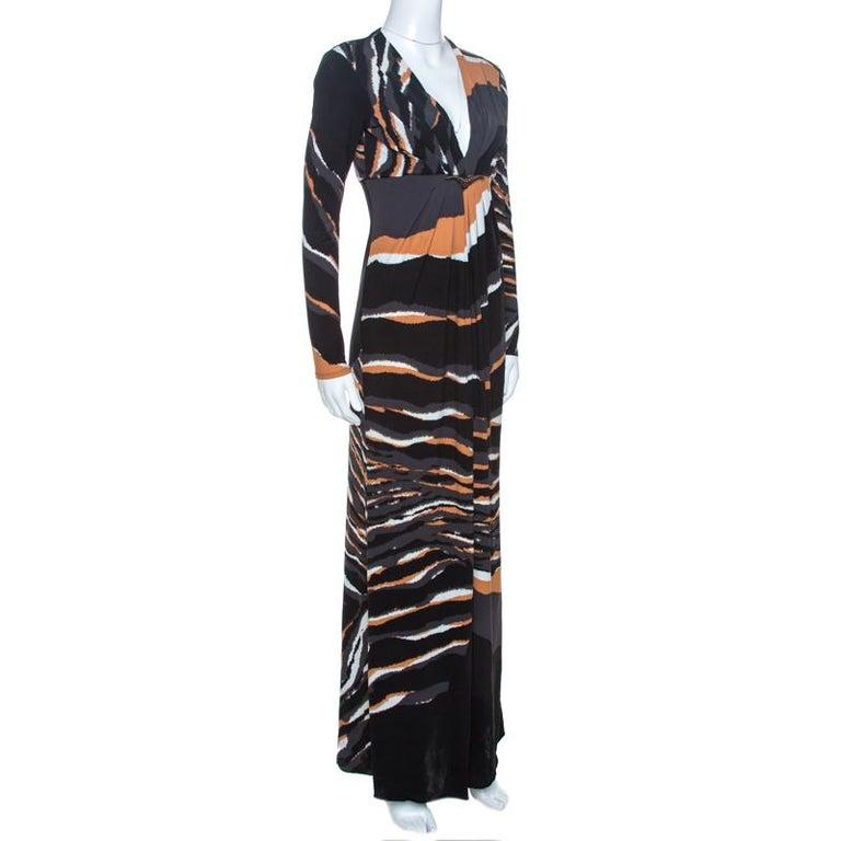Black Roberto Cavalli Multicolor Stretch Jersey Draped V Neck Maxi Dress S For Sale