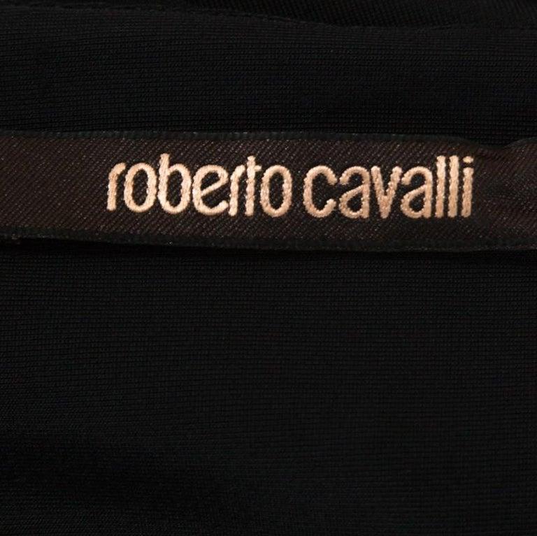Roberto Cavalli Multicolor Stretch Jersey Draped V Neck Maxi Dress S In Good Condition For Sale In Dubai, Al Qouz 2