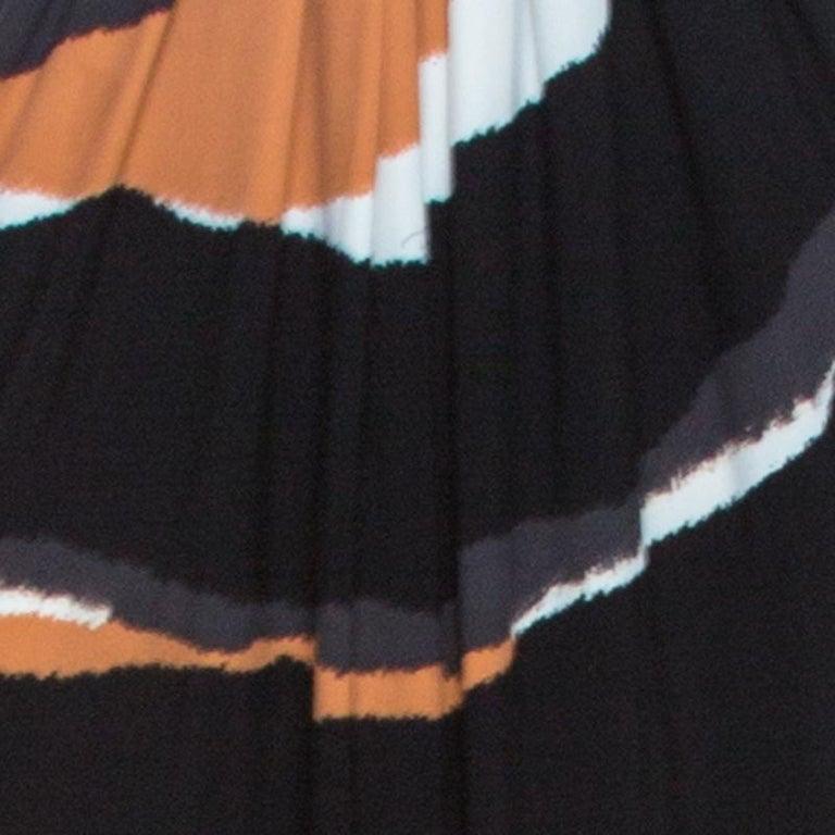 Roberto Cavalli Multicolor Stretch Jersey Draped V Neck Maxi Dress S For Sale 1