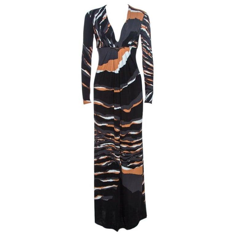 Roberto Cavalli Multicolor Stretch Jersey Draped V Neck Maxi Dress S For Sale