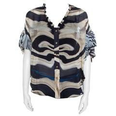 Roberto Cavalli Multicolor Striped Silk Batwing Sleeve Ruffled Top S