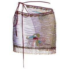 Roberto Cavalli multicoloured beaded mesh wrap mini skirt, ss 2000