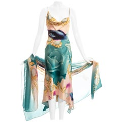 Roberto Cavalli multicoloured face print silk bias cut dress and shawl, ss 2001