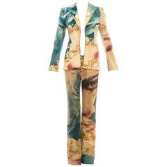 Roberto Cavalli multicoloured face printed metallic cotton pant suit, ss 2001