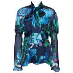 Roberto Cavalli Navy Blue Floral Print Silk Gathered Sleeve Blouse M