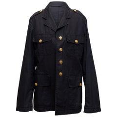 Roberto Cavalli Navy Cotton Cargo Jacket