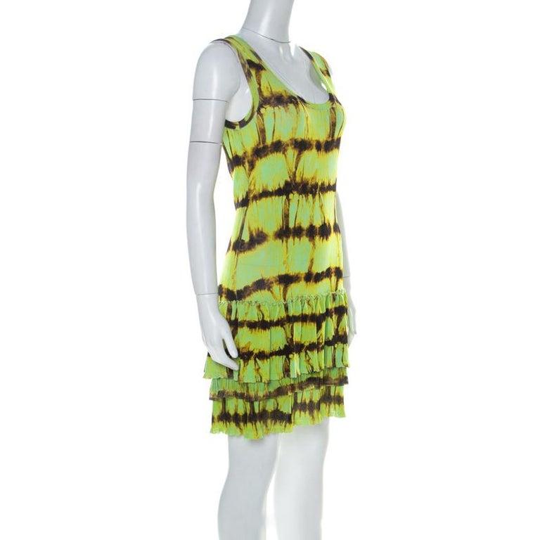 Roberto Cavalli Neon Green & Brown Printed Flounce hem Sleeveless Dress S In Good Condition In Dubai, Al Qouz 2