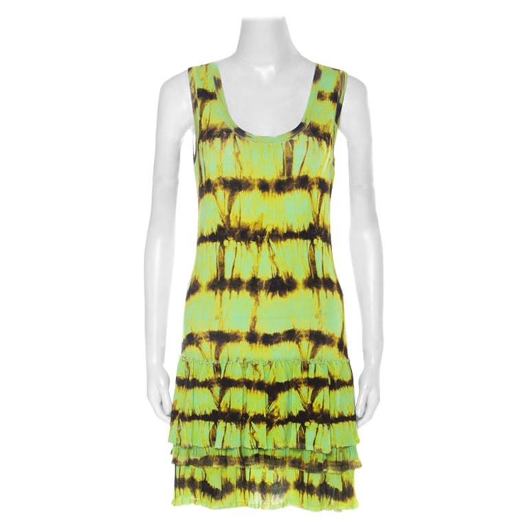 Roberto Cavalli Neon Green & Brown Printed Flounce hem Sleeveless Dress S