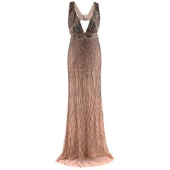 Roberto Cavalli Nude Gown with Gold Beading  US6