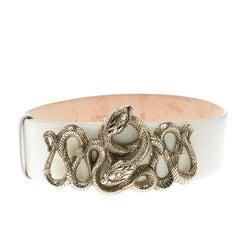 Roberto Cavalli Off White Leather Serpenti Buckle Belt 70cm