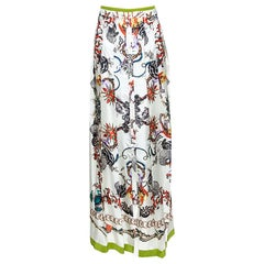 Roberto Cavalli Off White Printed Silk Button Front Long Skirt M