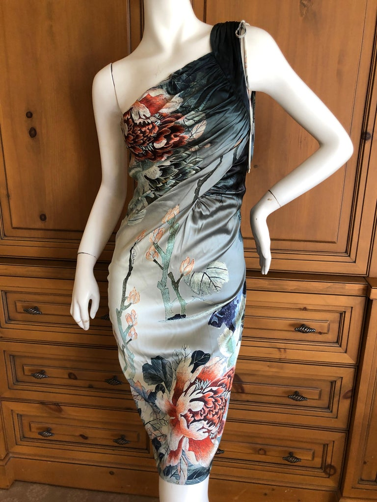 Roberto Cavalli Sweet Ones Shoulder Silk Cocktail Dress  Sz 42  New with  tags , marked  $1395  This is so pretty, the photos don't do it justice.   Size 42  Bust 34