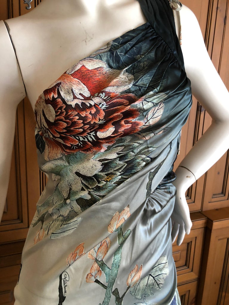 Roberto Cavalli One Shoulder Silk Cocktail Dress New In Excellent Condition For Sale In San Francisco, CA