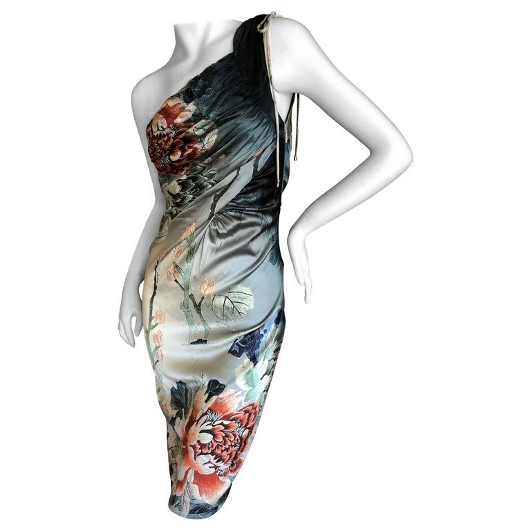 Roberto Cavalli One Shoulder Silk Cocktail Dress New For Sale