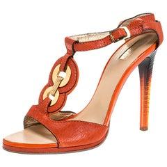 Roberto Cavalli Orange Leather Metal Embellished Ankle Strap Sandals Size 39