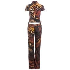 Roberto Cavalli orange tiger print t-shirt and pants suit, fw 2000