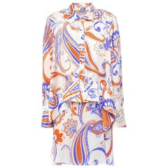Roberto Cavalli Paisley Asymmetric Layered Long Sleeve Silk Shirt Dress Size 38
