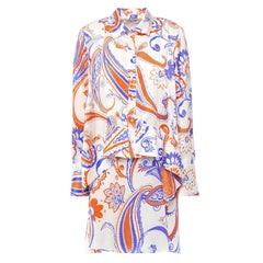 Roberto Cavalli Paisley Asymmetric Layered Long Sleeve Silk Shirt Dress Size 40
