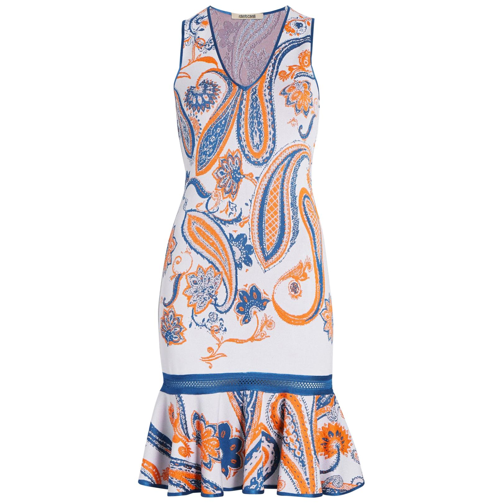 Roberto Cavalli Paisley Jacquard Knit Sleeveless Fitted Cocktail Dress Size 42