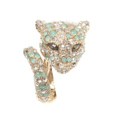 Roberto Cavalli Pale Blue Crystal Encrusted Panther Ring