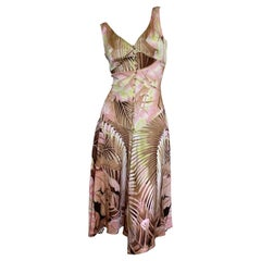 Roberto Cavalli Palm Print Cocktail Dress with Corset Stay Details
