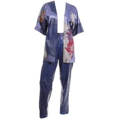 Roberto Cavalli Patchwork Blue Leather Pants & Hand Painted Jacket Suit Outfit