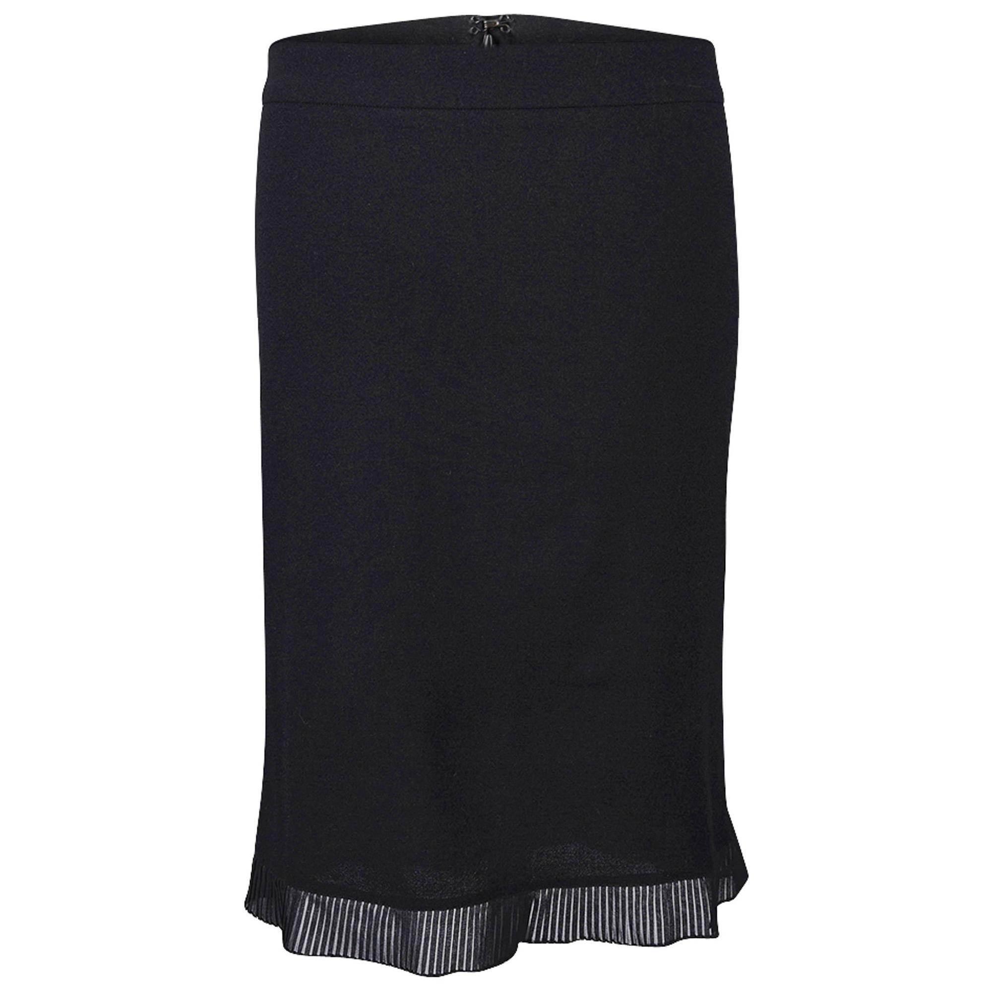Roberto Cavalli Pencil Skirt Semi Sheer Pleated Ruffle Hem Black S