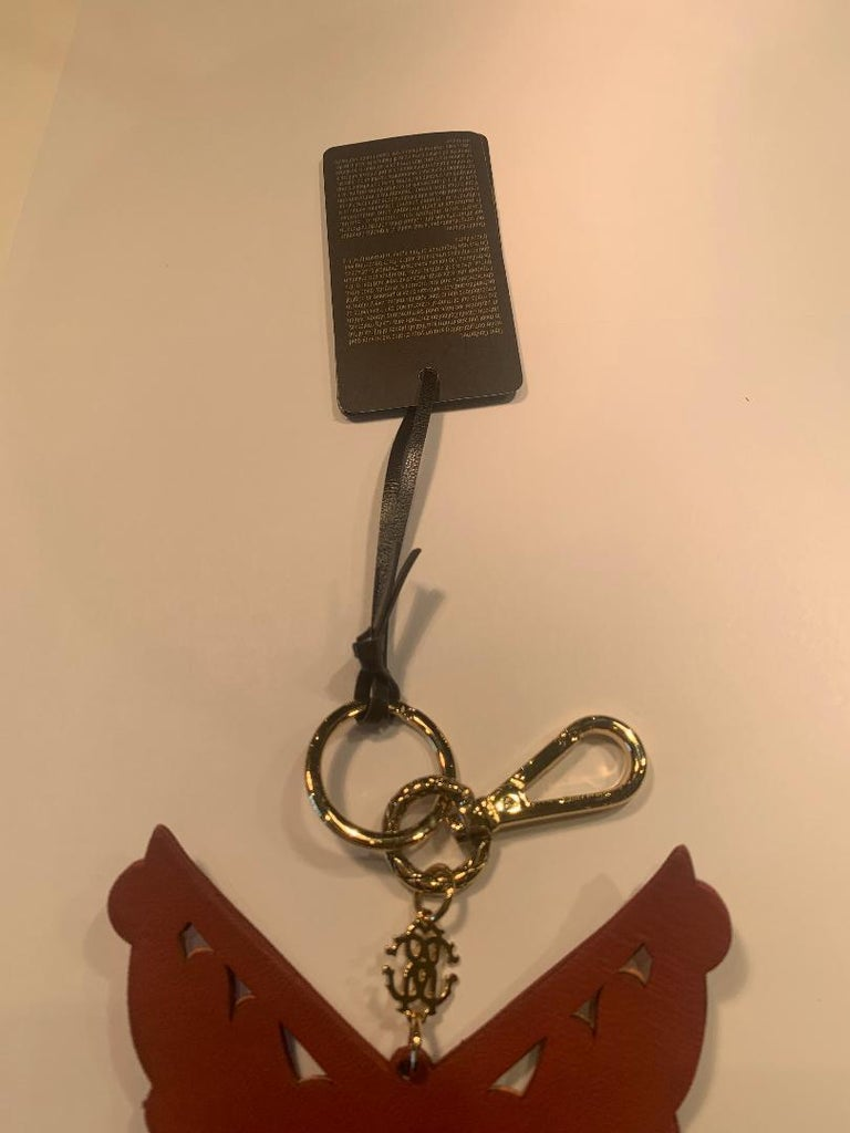 Roberto Cavalli Pink and Gold Leather Key Holder, Fob, or Purse Charm For Sale 2